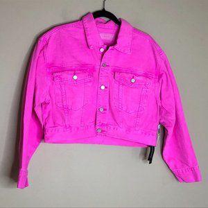 Blank NYC Pink Cropped Denim Jean Trucker Jacket